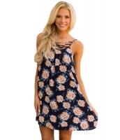 ブルー 花柄 プリント クリスクロス ネックライン シフト ドレス cc220043-5