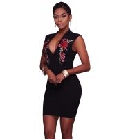 ローズ 刺繍 ブラック ミニドレス cc220057-2