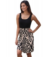 ブラック & アクア プリント ショート ドレス cc220062-16