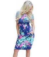 ロイヤル ブルー ストライプ 半袖 ボディー・フォージング 花柄 ドレス lc220086-5