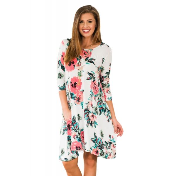 ホワイト 花柄 長袖 Aライン チュニック ドレス cc220099-1