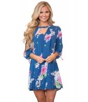青地 花柄 ドレス スリット入り袖 cc220105-5