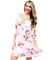 ピンク フェンスネック 花柄 Tシャツワンピ cc220108-10