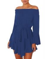 ブルー フレア袖 ドロップ裾 プリーツ オフショルダー ドレス cc220116-5