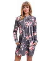 グレー 花柄 フード付き ドレス cc220131-11