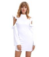 ホワイト コールドショルダー フリル 長袖 ボディコン ドレス cc220150-1