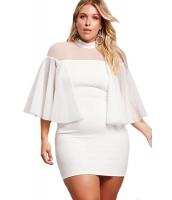 ホワイト 大きいサイズ セミシースルー ドレス cc220153-1