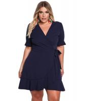 ネイビー ブルー 大きいサイズ フリル サプリス ラップ ドレス cc220175-5