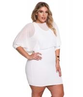 ホワイト 大きいサイズ シフォン レイヤー ボディコン ドレス cc220176-1
