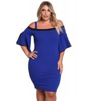 ブルー 大きいサイズ コールドショルダー ワイド袖 ボディコン ドレス cc220177-5