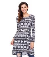 幾何模様 スノーフレーク ブラック 長袖 クリスマス ドレス cc220213-2