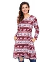 幾何模様 スノーフレーク ブルゴーニュ 長袖 クリスマス ドレス cc220213-3