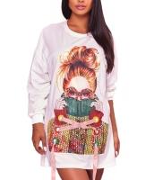 ホワイト セーター ガールズ グラフィックアート スウェットシャツ ドレス cc220225-1