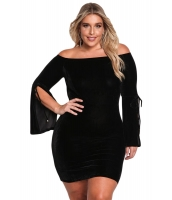 ブラック 大きいサイズ ベルベット オフショルダー ワイド袖 ドレス cc220230-2