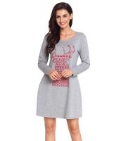 幾何模様 スノーフレーク トナカイ グレー クリスマス Tシャツ ドレス cc220233-11