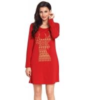 幾何模様 スノーフレーク トナカイ レッド クリスマス Tシャツ ドレス cc220233-3
