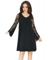 ブラック シーア 花柄袖 スウィング ドレス cc220260-2