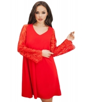 レッド シーア 花柄袖 スウィング ドレス cc220260-3