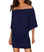 マルチ ドレス レイヤー ダーク ブルー ミニドレス lc22820-105