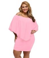 大きいサイズ マルチ ドレス レイヤー ピンク ミニドレス cc22820-10p