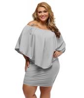 大きいサイズ マルチ ドレス レイヤー グレー ミニドレス lc22820-11p
