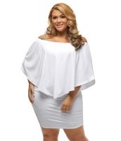 大きいサイズ マルチ ドレス レイヤー ホワイト ミニドレス lc22820-1p