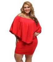 大きいサイズ マルチ ドレス レイヤー レッド ミニドレス lc22820-3p