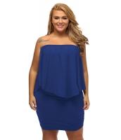 大きいサイズ マルチ ドレス レイヤー ブルー ミニドレス lc22820-5p
