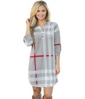 グレー 格子・縞模様 ロールアップ 袖 アーチ形 裾周り ドレス cc22890-11