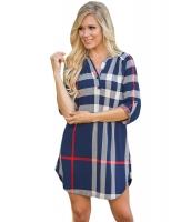 ブルー 格子・縞模様 ロールアップ 袖 アーチ形 裾周り ドレス cc22890-5