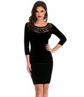 ブラック くりぬき 丸首 袖 ベルベット ドレス cc22925-2