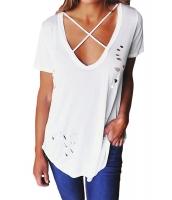 ホワイト クリスクロス ネックライン アンティーク調 コットン Tシャツ cc250013-1