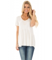 ホワイト スイートハート ネックライン ベビードール スタイル Tシャツ cc250022-1