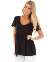ブラック スイートハート ネックライン ベビードール スタイル Tシャツ cc250022-2
