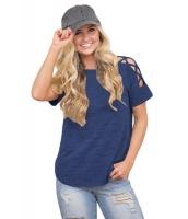 ブルー クリスクロス 入り 半袖 Tシャツ cc250039-5