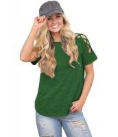グリーン クリスクロス 入り 半袖 Tシャツ cc250039-9