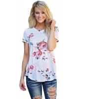 ホワイト 半袖 丸首 花柄 プリント Tシャツ cc250067-1