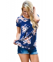 ロイヤルブルー 半袖 丸首 花柄 プリント Tシャツ cc250067-4