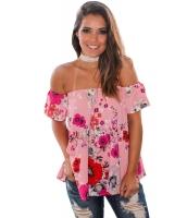 ピンク レッド 花柄 オフショルダー ブラウス cc250077-22