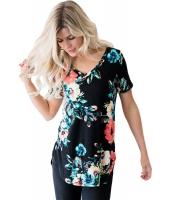 ビッグ 花柄 Vネック 半袖 Tシャツ cc250078-102