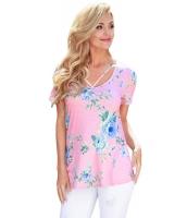 ストラップ ネック 入り ピンク 花柄 半袖 Tシャツ cc250096-1010