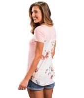 ライト ピンク 花柄 プリント ロー バック Tシャツ cc250119-10