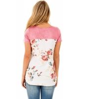 ピンク 花柄 ローバック Tシャツ cc250119-1010