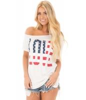 ホワイト 半袖 米国旗 ラブ プリント トップス cc250125-1