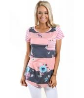 コーラル グレー カラーブロック 花柄 ストライプ カジュアル Tシャツ lc250131-11