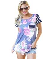 パープル 花柄 & ストライプ カジュアル Tシャツ cc250131-8
