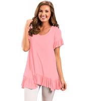 ピンク フリル トリム 半袖 なだらかな トップス lc250153-10