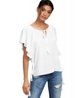 ホワイト 蝶々袖 トップス リボン付き cc250168-1