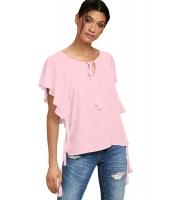 ピンク 蝶々袖 トップス リボン付き cc250168-10