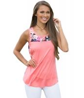 ピンク フロント 花柄 プリント バック ハイロー 裾周り タンクトップ lc250208-10